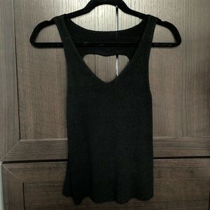 Black knitted tank with open back